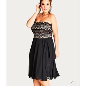 City Chic Ebony Eyelash Dress AU22 / XL